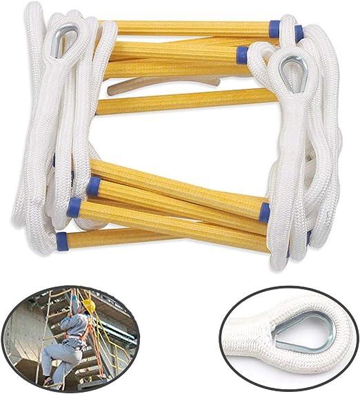 LANGYINH Escalera de Cuerda con Ganchos para emergencias contra Incendios Escalado para niños Escalera de nilón portátil Uso Suave para emergencias,16.4Feet: Amazon.es: Hogar