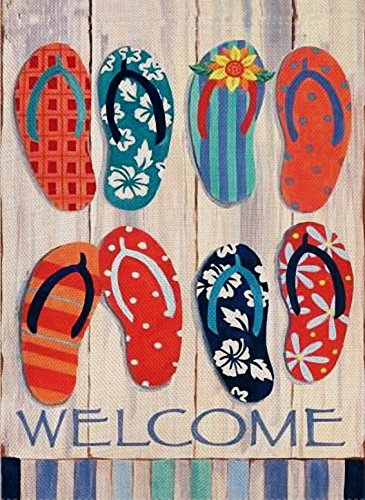Dyrenson Home Decorative Outdoor Flip Flops Garden Flag Double Sided, Beach Welcome Quote House Yard Flag, Tropical Nautical Garden Yard Sea Decorations, Seasonal Outdoor Flag 12 x 18 Summer ()