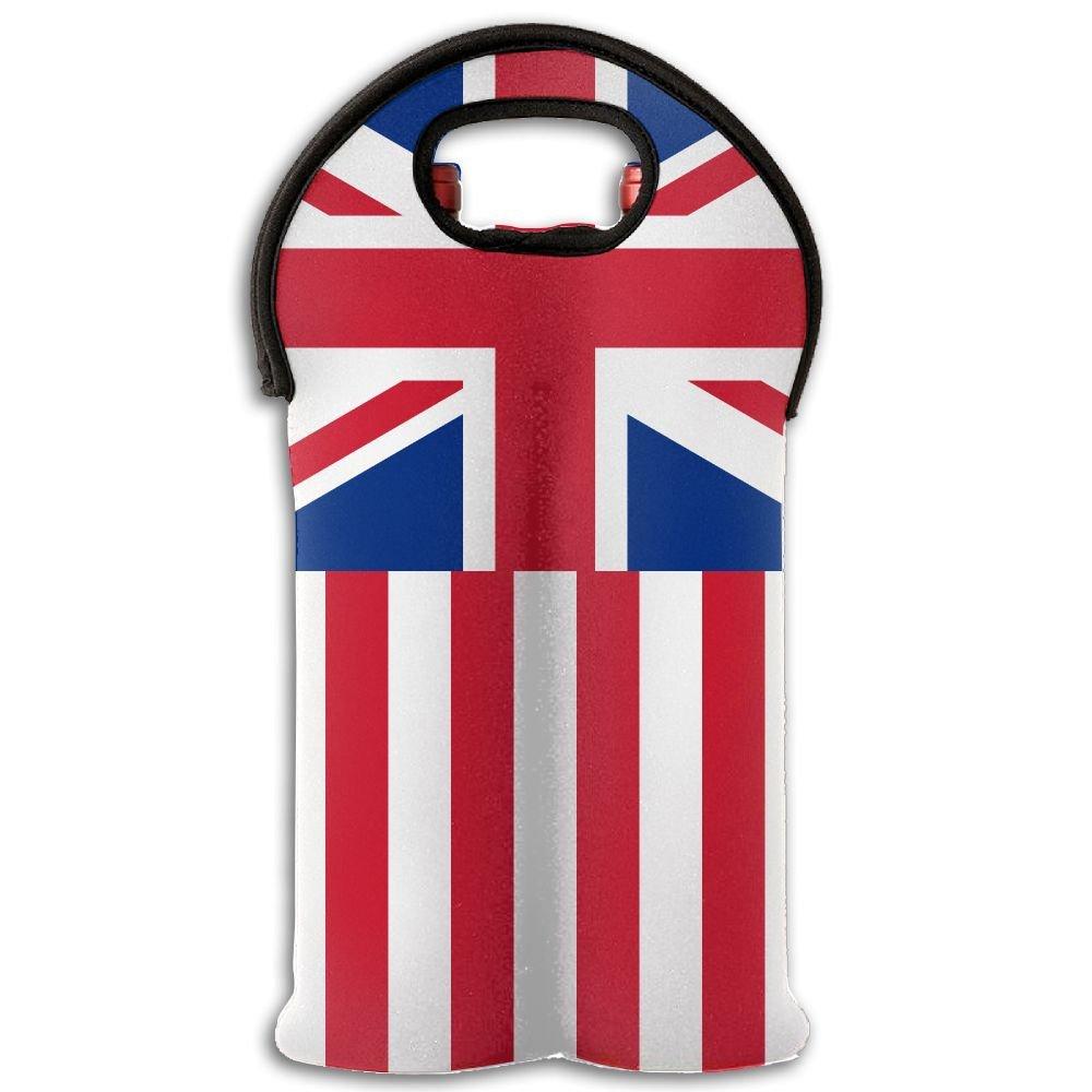 Fomete British America Flag Wine Travel Carrier & Cooler Bag 2-bottle Wine Carrying Tote