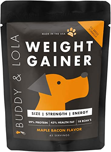 Buddy Lola Weight Gainer for Dogs – Healthy Weight Gainer Supplement for Dogs – Muscle Builder, Injury Recovery, High Calorie Energy Performance Supplement for All Breeds. Made in The USA
