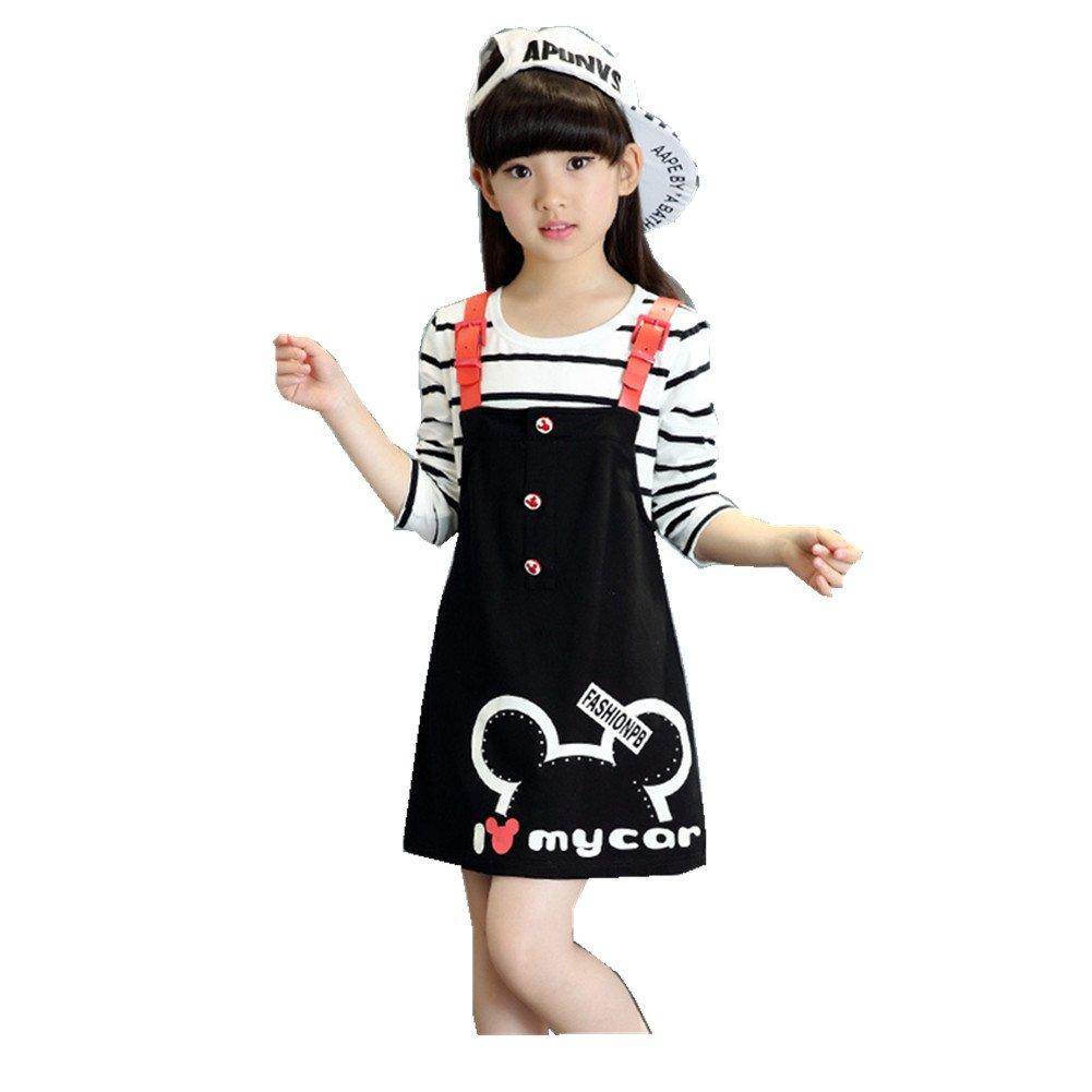 FTSUCQ Girls Long Striped Shirt Overalls Dresses Two-Piece Dress