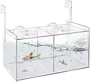 Single Pssopp Mini Aquarium Fish Tank Transparent Betta Bowl Fish Breeding Box Acrylic Fish Isolation Box Hatching Incubator for Baby Fishes Guppy Betta