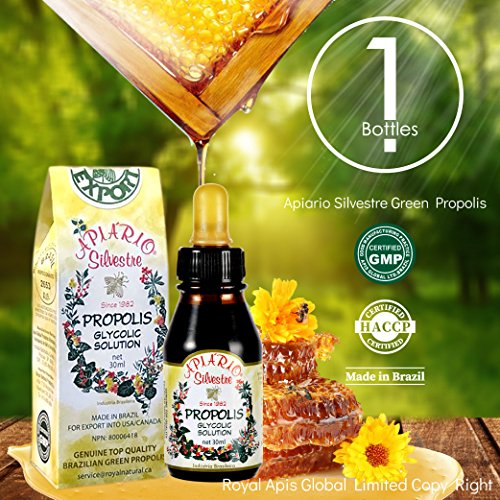 Official Distributor (Royal Apis Global Limited) – 1 Bottle of Apiario Silvestre Brazilian Green Bee Propolis Liquid Glycolic Extract-Alcohol Free, Wax Free, Sugar Free Review
