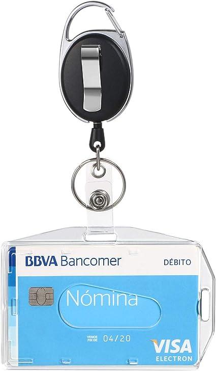 Vicloon Funda para Tarjeta con Llavero Retráctiles de Alta, 1 Pc Soporte de Tarjeta ID en 2 Estilos (Horizontal/Vertical) y Clip de Cinturon con Cordón de Nylon Extensible para Oficina Autobús: Amazon.es: