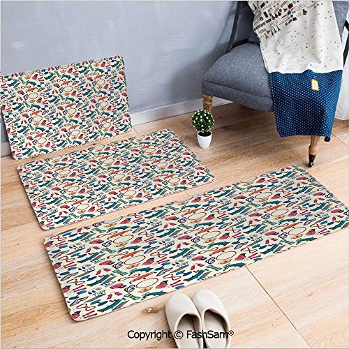 3 Piece Flannel Bath Carpet Non Slip Cartoon Style Gym Equipment Set Activity Exercise Burning Calories Losing Weight Decorative Front Door Mats Rugs for Home(W15.7xL23.6 by W19.6xL31.5 by W35.4xL62.9