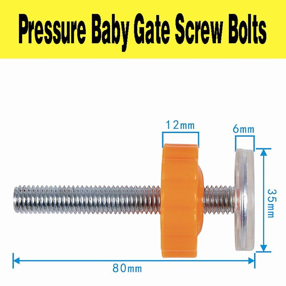 4er 8cm Baby Treppenschutzgitter Schrauben Bolzen mit Befestigungsmutter φ10mm