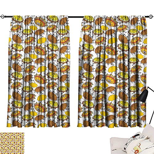 Ediyuneth red Curtains Umbrella,Striped Parasols with Bent Crook Handles in Earth Tones Cartoon Style,Brown Yellow Orange 54