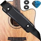 Eison Guitar Strap Shoulder Pad Removable Shoulder Pad Anti Noise Comfortable for Electric Bass Acoustic Guitar, Black