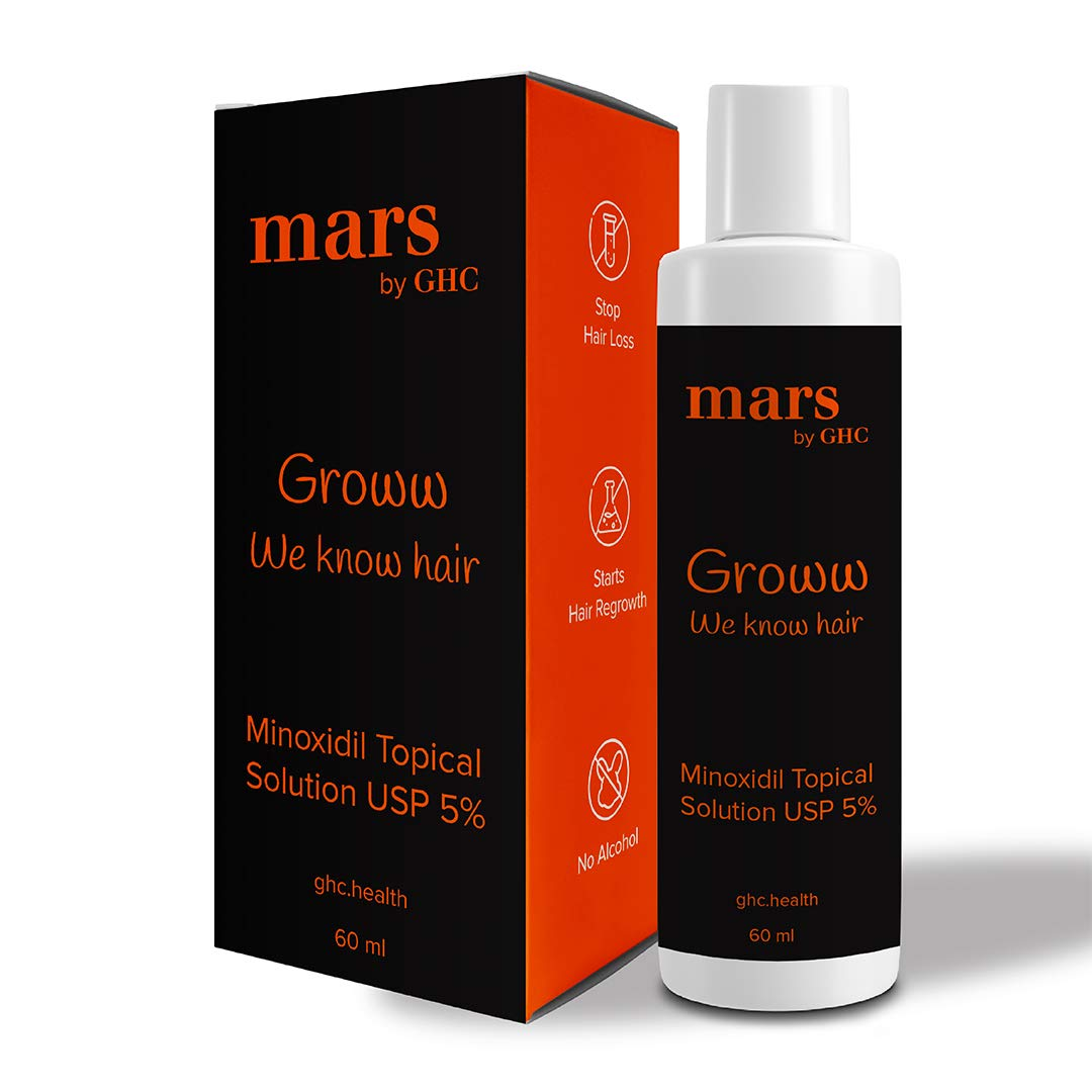 mars by GHC 5% Topical Solution/Spray for Hair Growth (60ml) | Control Hair Fall | Serum for Healthy & Strong Hair for both Men & Women