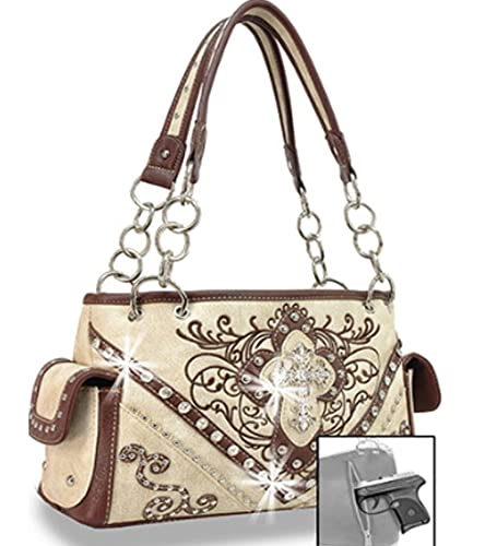 Zzfab Cross Embroidered Western Handbag Rhinestone Purse Beige ... 8d665e4f528e5