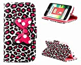 LG Optimus L70 Case, Cute Bow Tie Card Slot Holder Phone Case With Stand --Retail Package W Screen Protector--Pink Leopard