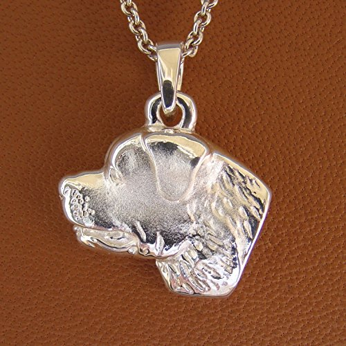 Sterling Silver Rottweiler Head Study Pendant