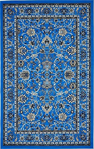Unique Loom Kashan Collection Dark Blue 5 x 8 Area Rug (5' x 8')