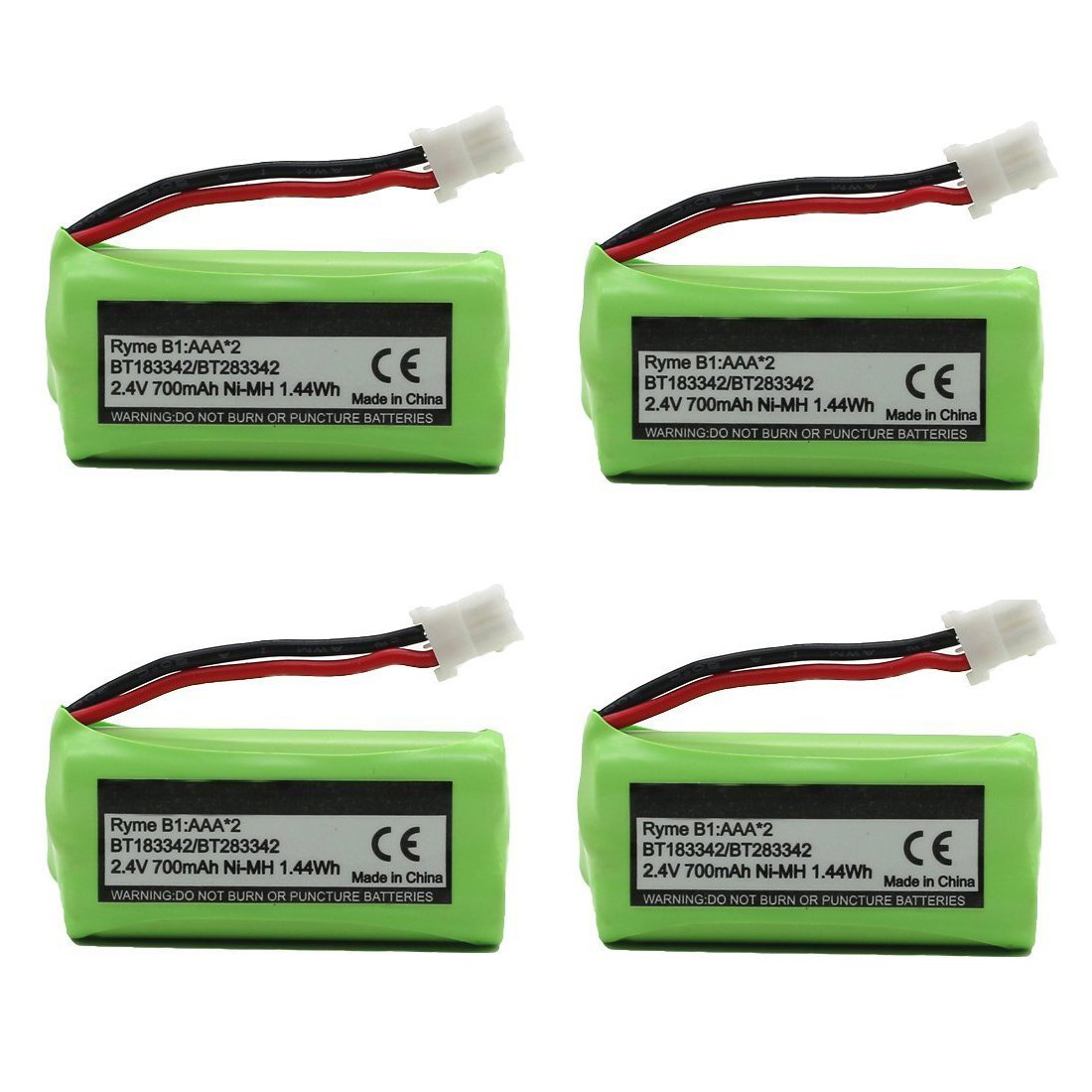 BT183342 BT162342 BT166342 BT262342 BT283342 BT266342 Replacement Battery Pack for Vtech Cordless Phone CS6114 CS6719 CS6124 CS6649 DS6151 AT&T CL4940 EL52300 Handset (4-Pack)