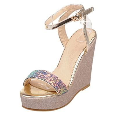 TAOFFEN Damen Keilabsatz Sandalen Schuhe Sommer