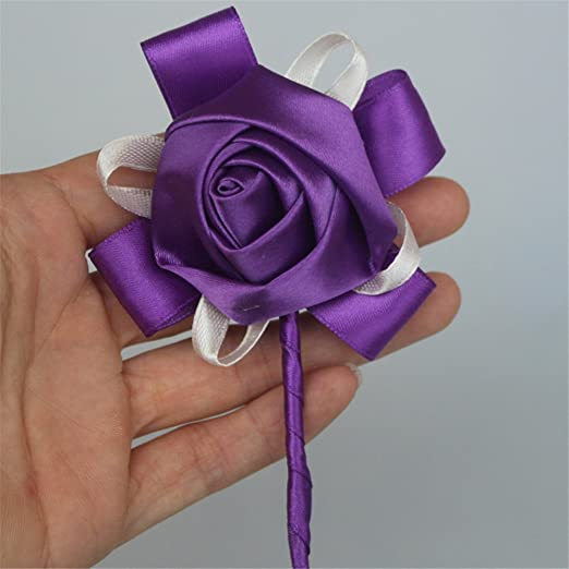USIX 2pc Pack-Handmade Simple Solid Color Mens Lapel Satin Flower Boutonniere Pin for Suit Wedding Groom Groomsmen Best Man Brooch Rose Boutonniere Dark Blue