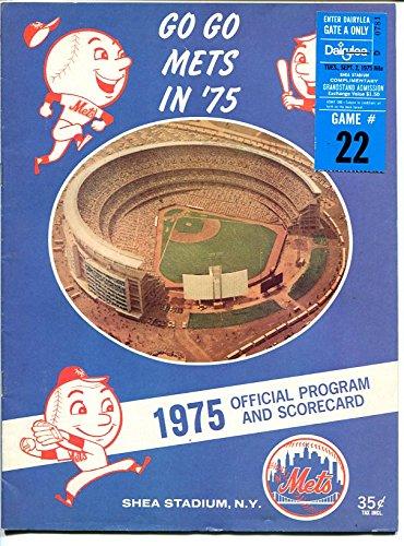 1975 NEW YORK METS PROGAM & SCORECARD-SHEA STADIUM-TICKET STUB ATTACHEDMLB-good Mets Stadium Tickets