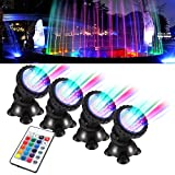TOPBRY Remote Control Submersible Spotlight Pond lights 36 LED Colorful IP68 Waterproof Aquarium Spotlight Multi-color Decoration Landscape lamp for Fountain Fish Pond Tank Water Garden (Set of 4)