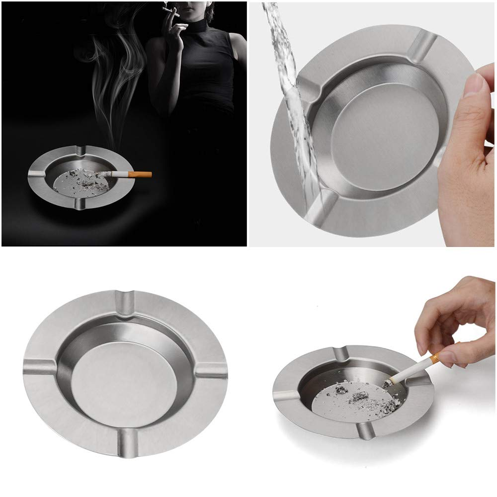 Gotian Round Stainless Steel Cigarette Lidded Ashtray Silver Portable Useful Ashtray - for Cigarettes Indoor Outdoor Home Office - 1 pc Ashtray(14.5 x 14.5 x 2cm)