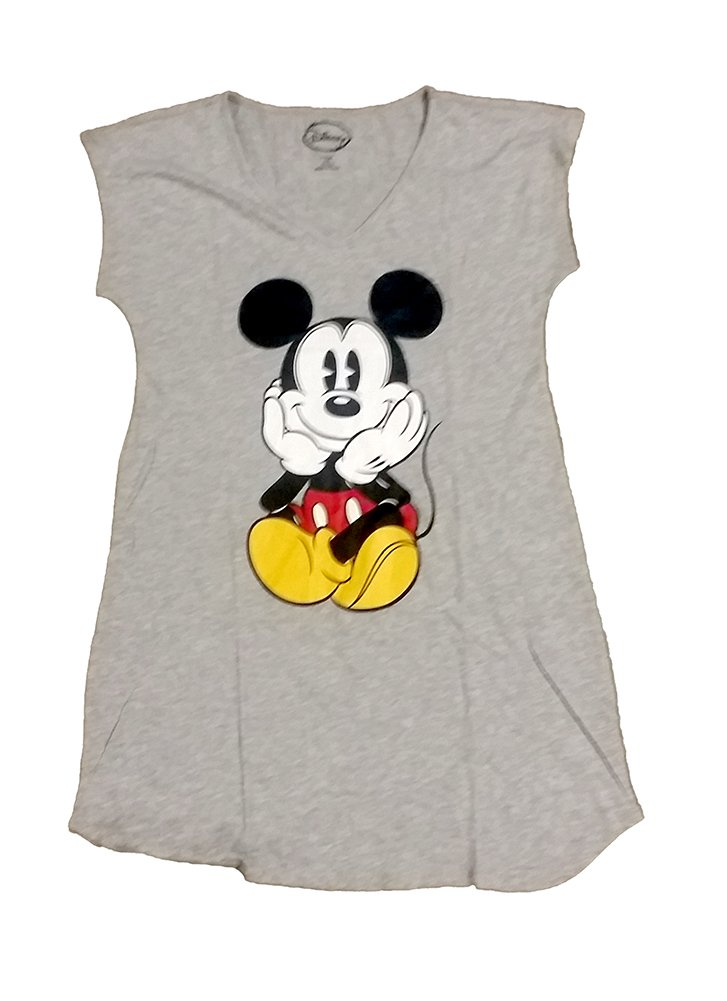 Disney Mickey Womens Pajama T Shirt Top - Heather Grey