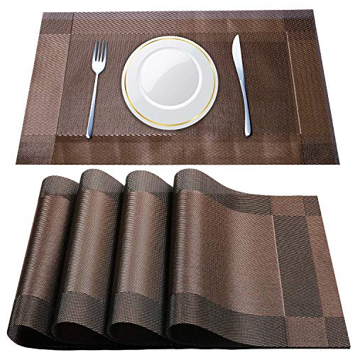 Unves Placemats, Table Mats Non-Slip Heat Insulation Stain-Resistant Washable Vinyl Placemats for Kitchen Dining Table Placemat Set of 4 (Brown,12x18inch)
