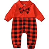 Xuuly My First Christmas Newborn Baby Boy Girl Clothes Red Grid Print Romper Bodysuits Christmas Outfits Clothes