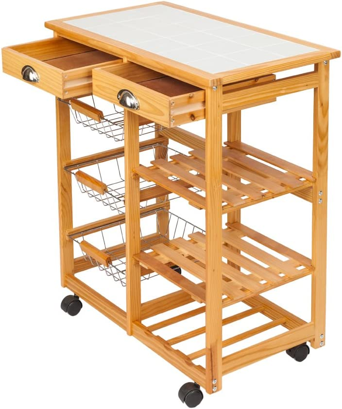 2 Baskets and 1 Shelves Binrrio Folding Trolley Kitchen Storage Cart on Wheels Rolling Wood Utility Cart with 1 Drawers Dining cart with Wheels Sapele