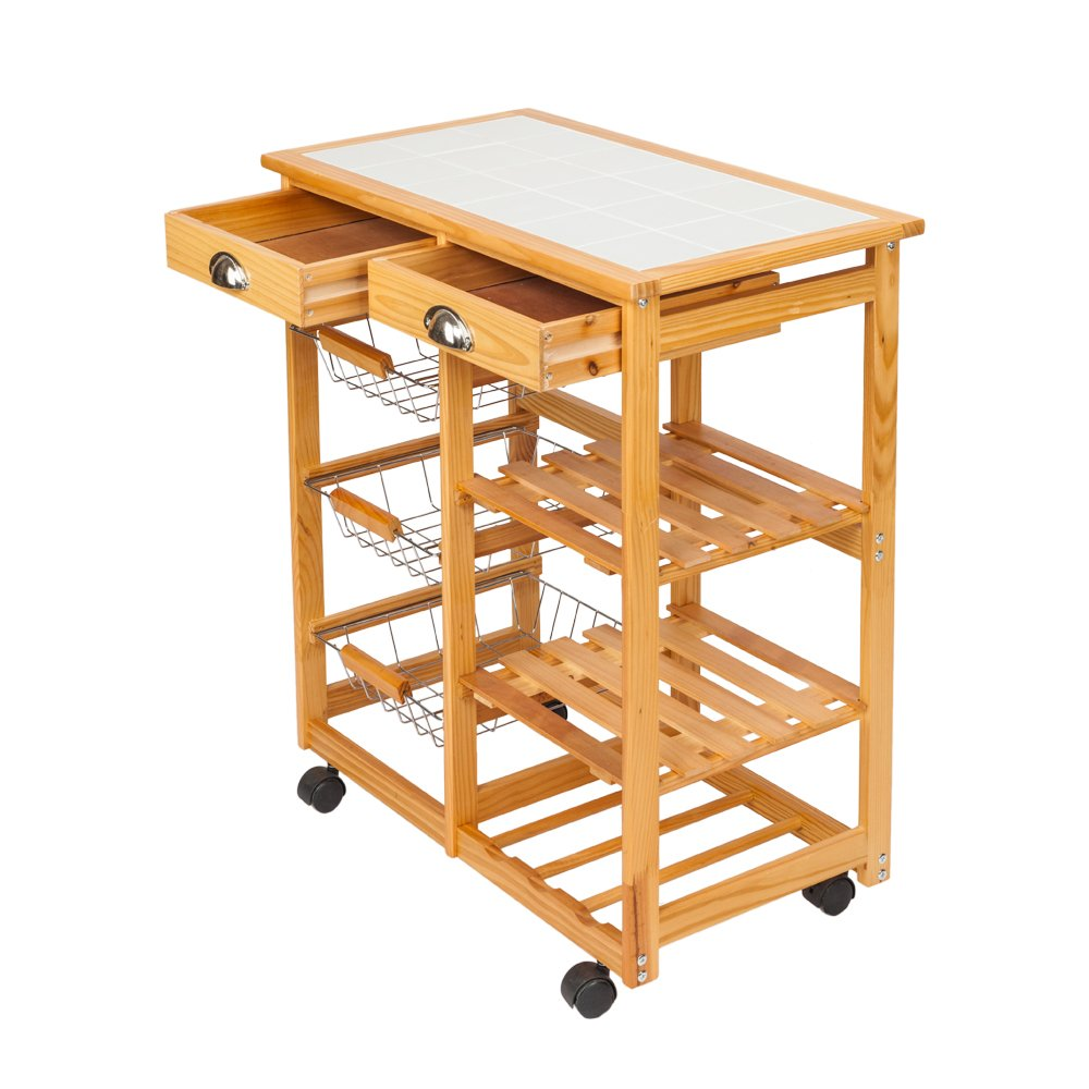 SONGLAN Kitchen & Dining Room Cart 2-Drawer 3-Basket 3-Shelf Storage Rack with Rolling Wheels (Wood Color)