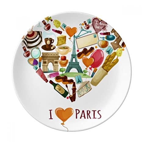 Francia Love Paris Eiffel Arco de Triumph corazón decorativo plato de postre de porcelana de 20