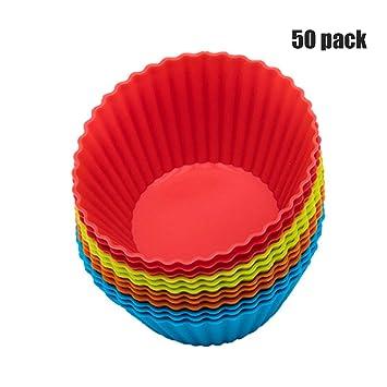 Revestimientos de silicona para cupcakes/Copas para hornear - 48 moldes para muffins vibrantes en tarro de almacenamiento Juegos de moldes para pasteles ...