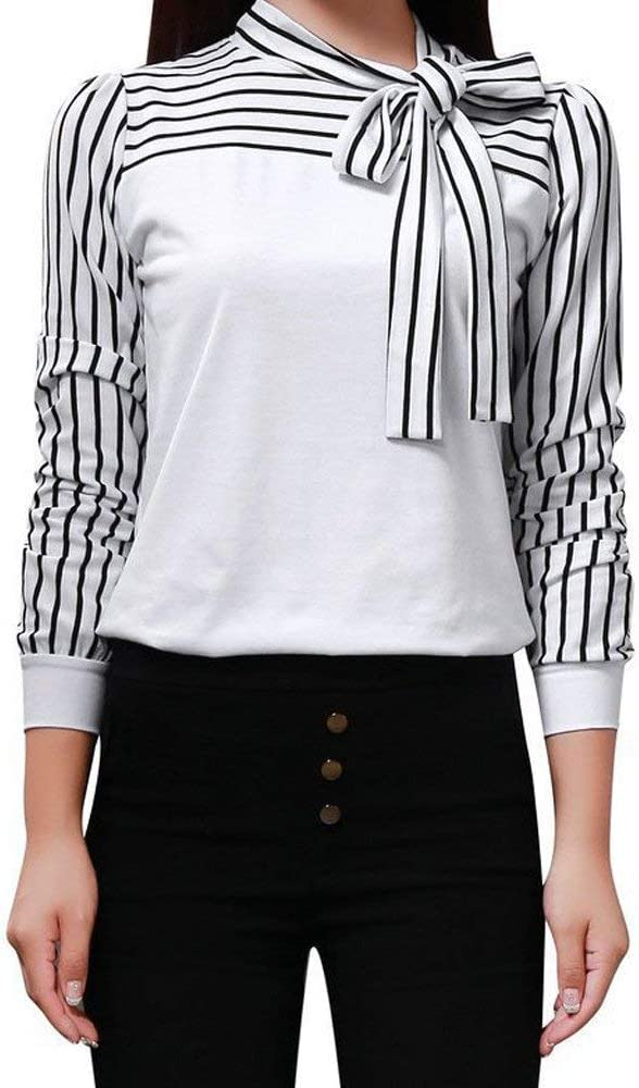 Blusas Mujer Manga Larga Stand Festival Rayas Cuello Empalme de Moda con con Lazo Camisa Camisas Señoras Slim Fit Casuales Negocios Oficina Shirt Camicia Bluse: Amazon.es: Ropa y accesorios