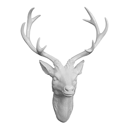 Three Hands 15.5u0026quot; White Resin Deer Head Wall Decor ...
