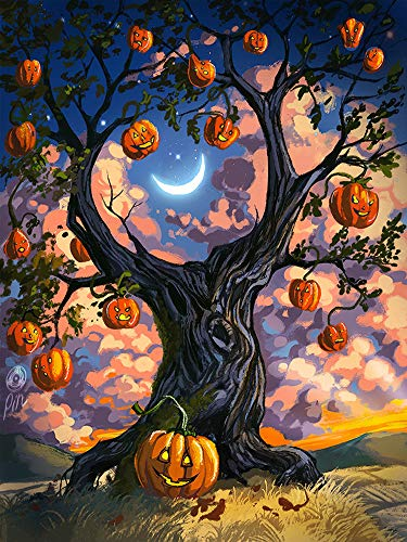 DIY 5D Diamond Painting by Number Kits, Round Diamond Embroidery Cross Stitch Halloween Home Wall Décor Arts Craft Canvas,Partial Drilled,11.81 x 13.78 inch -