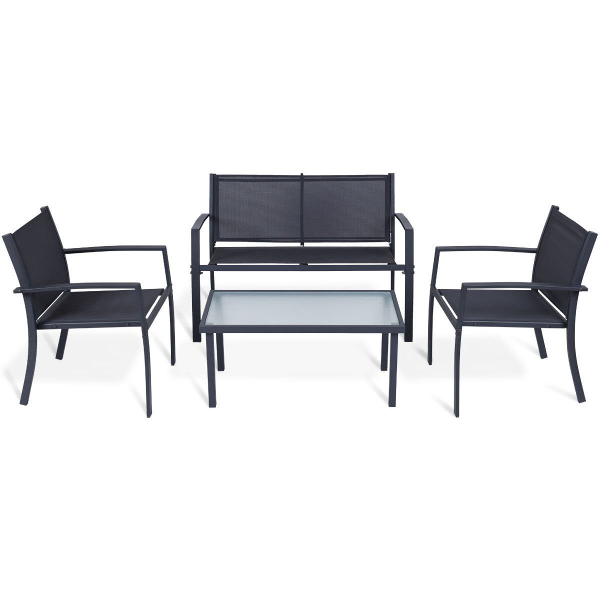 totoshop 4 PCS Outdoor Patio Furniture Set Tempered Glass Table Loveseat Chairs Steel