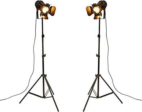 OYGROUP Pack of 2 Antique Style Floor Lamp Black Tripod Iron Brightness Adjustable Height Light