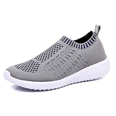 cb6cd978a4293 konhill Women's Casual Walking Shoes Breathable Mesh Work Slip-on Sneakers