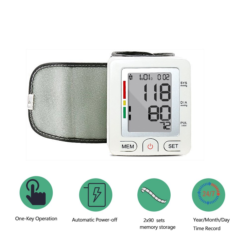 Amazon.com: Blood Pressure Monitor, Sqrmekoko Automatic Digital Wrist Blood Pressure Monitor Adjustable Cuff with Irregular Heartbeat Monitoring: Health ...
