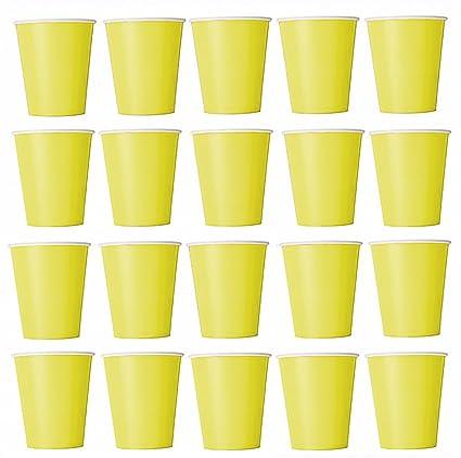 50 x Vasos Amarillo vasos desechables para bebidas frías y bebidas calientes de cartón respetuoso con