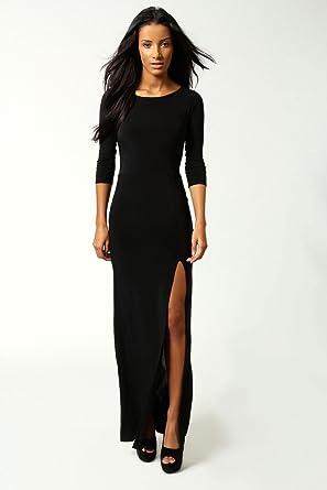 Womens Petite Candice Side Split Slinky Maxi Dress 6 Black