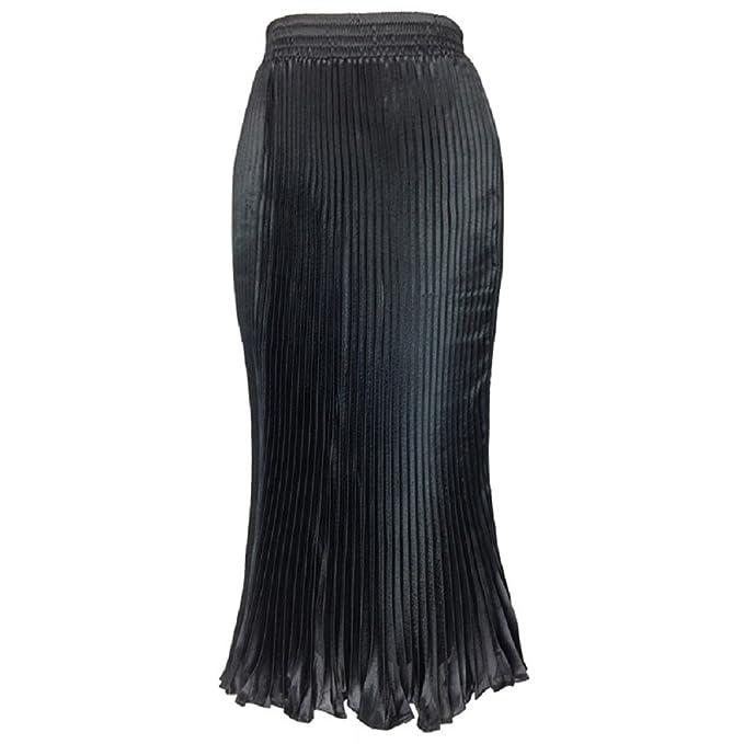 9bea3b550 Oudan Falda Plisada de Las Mujeres Cintura Alta de la Mediados de ...