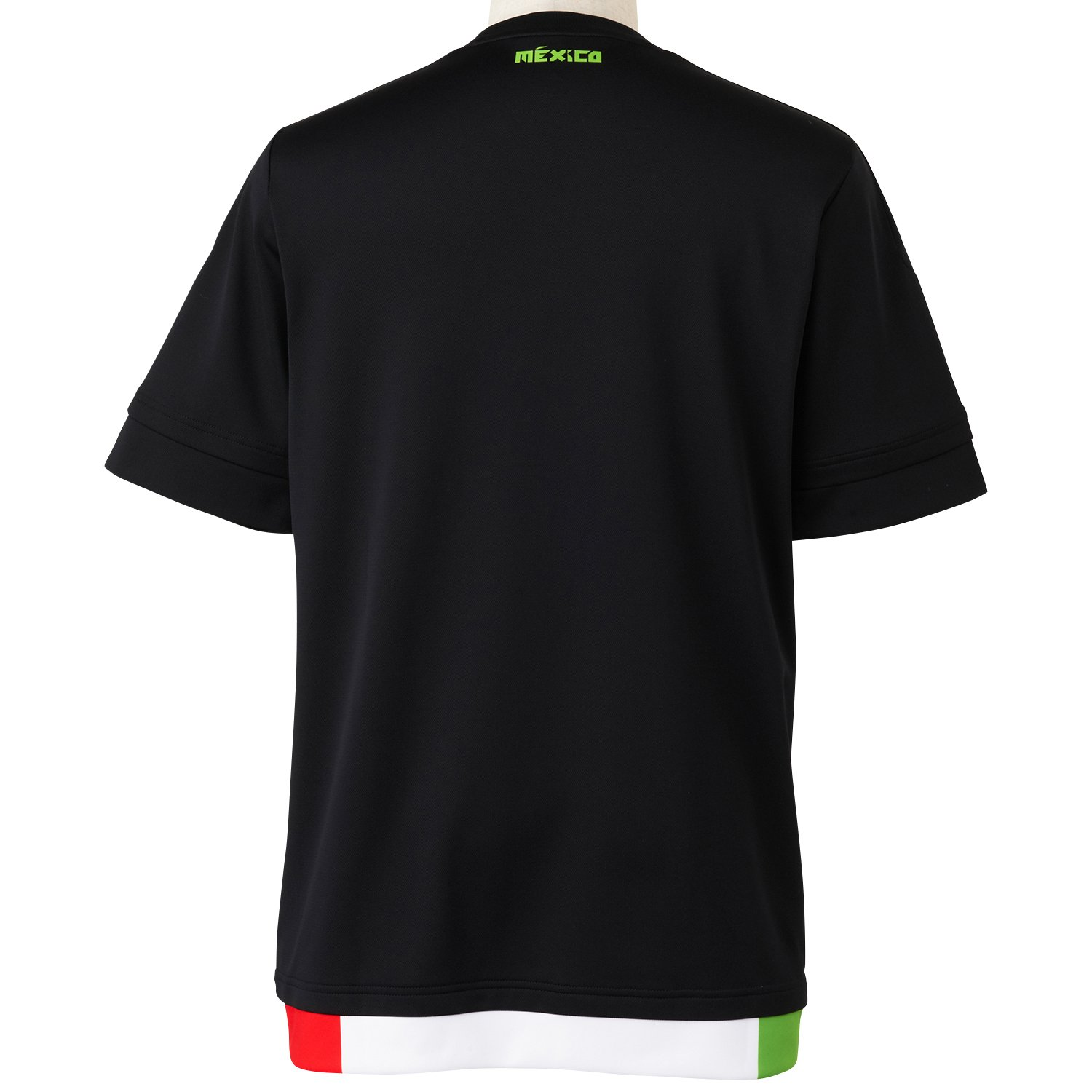 Adidas para Hombre de Manga Corta Camiseta de México del Jugador-del Negro Top:Black/Dark Grey/Semi Solar Green/Hi-Res Red F13 Bottom:White Talla:Small: ...