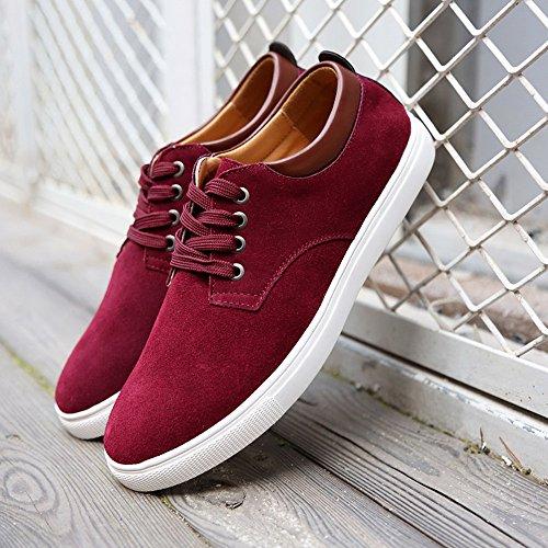 Barcos Zapatos Rojo CUSTOME Planos Zapatos Holgazanes Ligeras Hombres Cuero Moda Ocio Antideslizante gamuza de FxaA1Yqw