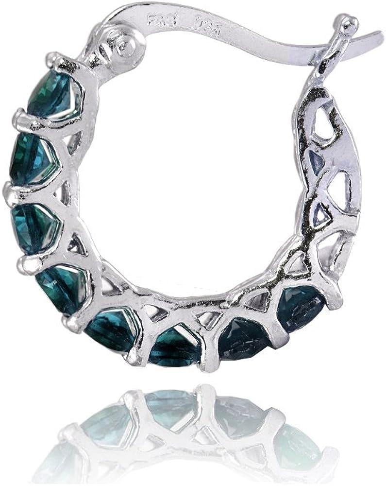 Sterling silver Gemstone ring Gift for women Tiny hoop earrings Blue topaz silver ring