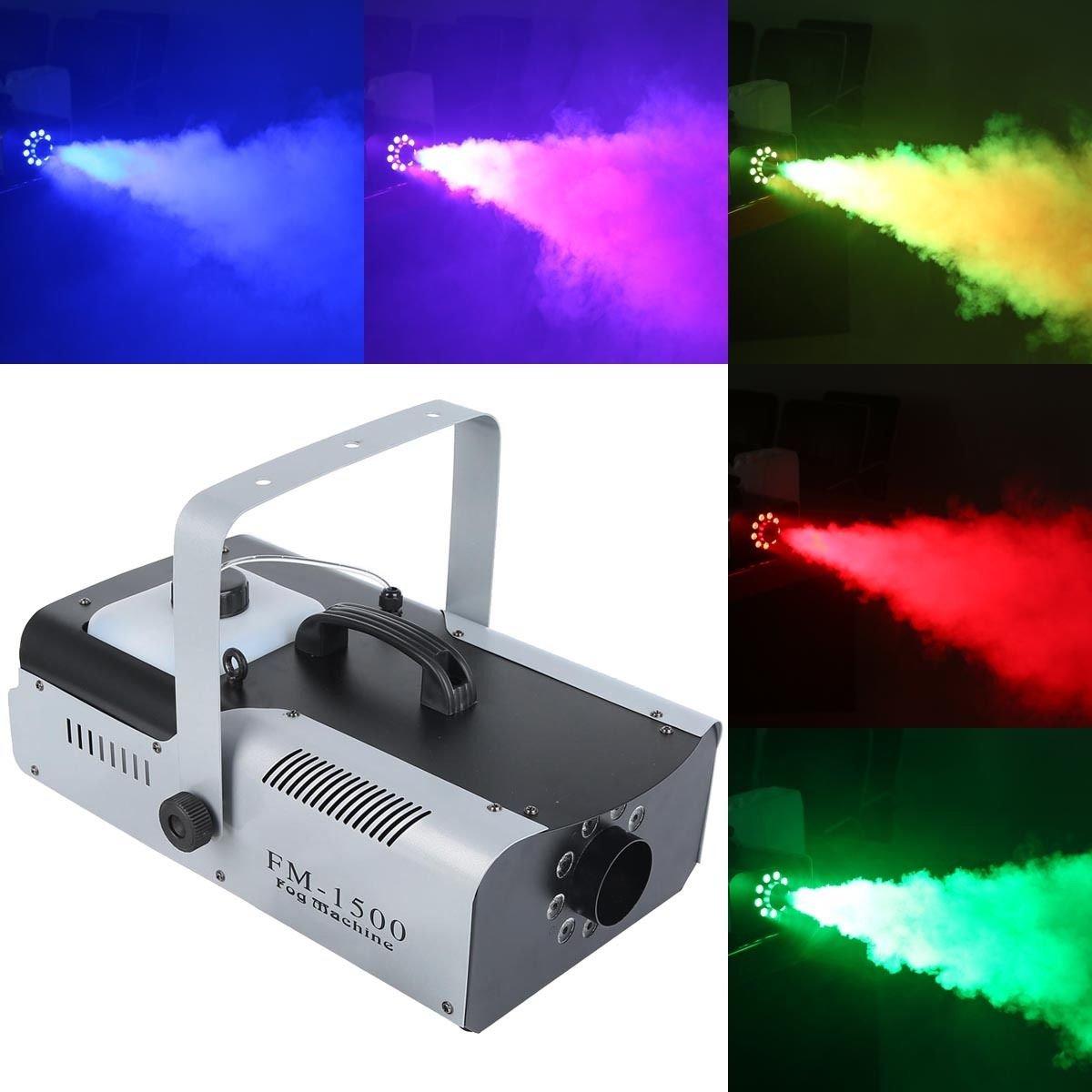 TC-Home 1500 Watt Smoke Fog Machine 9 LED Lights Remote Control DJ Party Stage Fogger by TC-Home