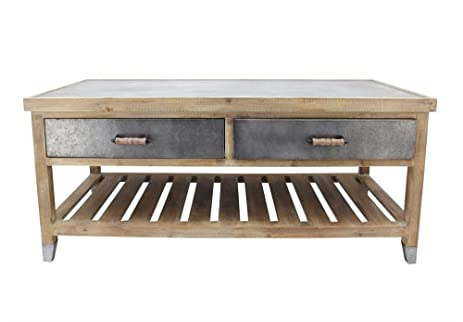 Traditional Wooden Cocktail Table With Tin Top, Gray And Brown