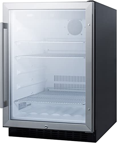 Capacity 154-Can with Glass Door with Stainless Steel Trim A124BEV-S ft 5.1 cu Azure 24 Built-In Beverage Center