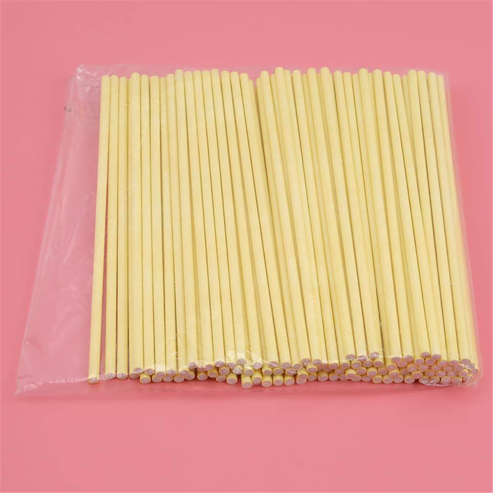 Yunzee 100pcs Paper Lollipop Sucker Sticks for Cake Pops Candy 6-Inch,Yellow by Yunzee