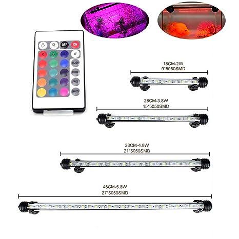 greensun 18 cm Acuario iluminación LED 16 Colores RGB Control de lámpara bombilla Lighting para pez