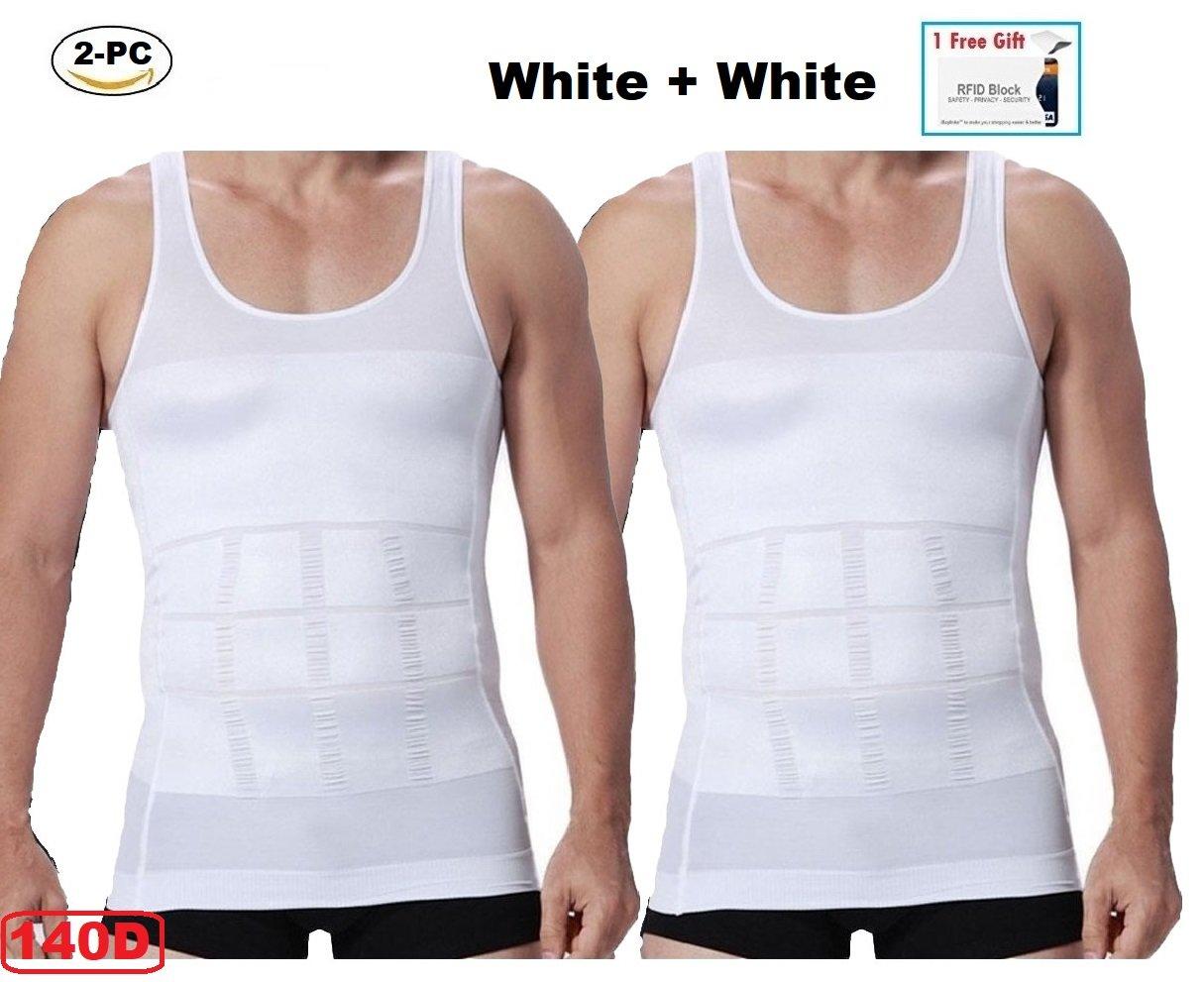 2pc Mens Slim Body Shaper Compression Undershirt (2 white or 2 black) +1 RREE GIFT CNDW