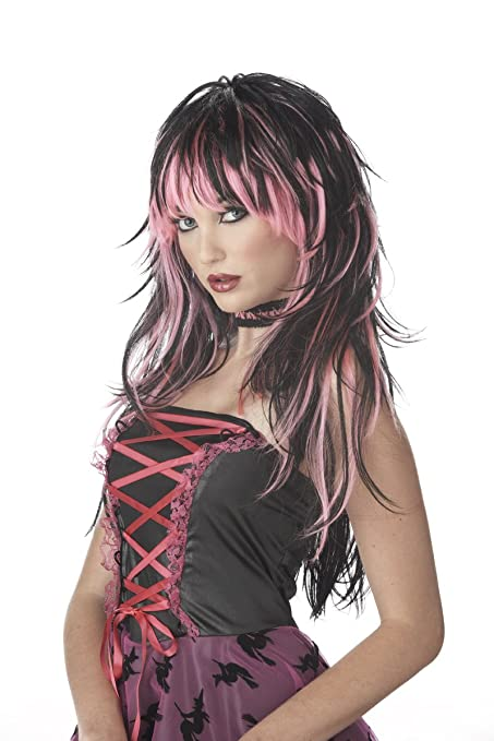 Tempting Tresses wig -pink and black 80slong pop/rock wig ...